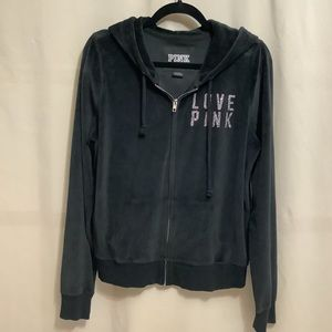 Pink Victoria's Secret velour hoodie with rhinestones and silver lettering
